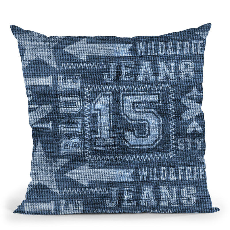 Denim Print Throw Pillow By Andrea Haase