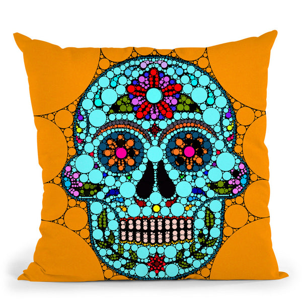 Dot Art Sugar Skull Throw Pillow By Andrea Haase