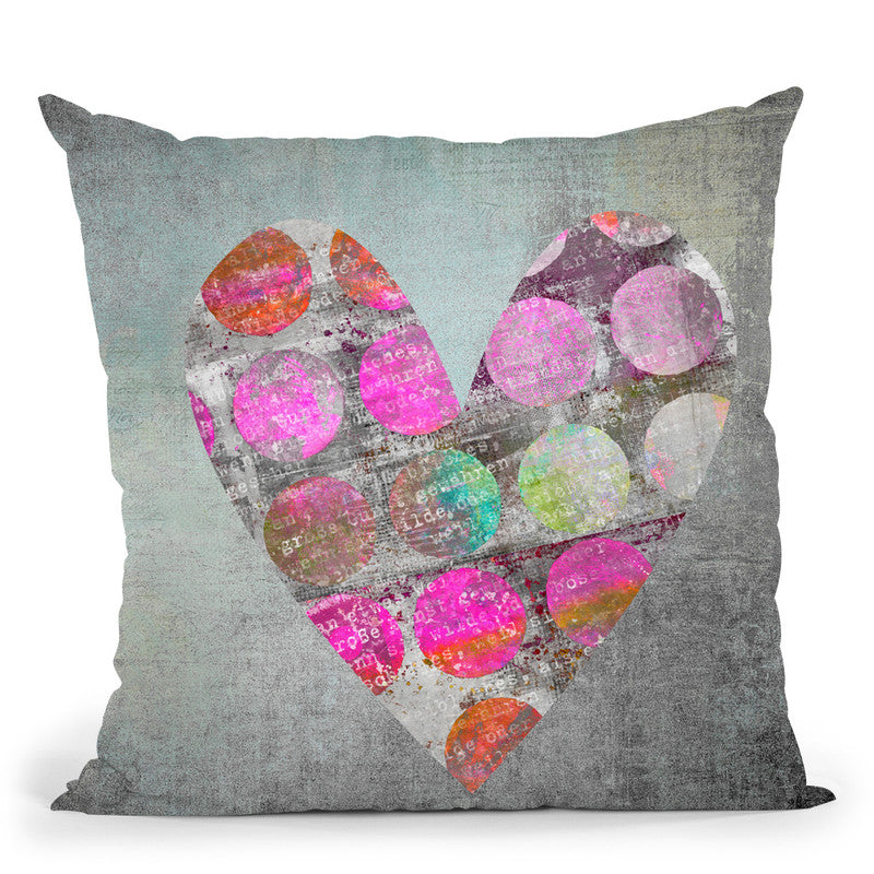 Dotted Heart Throw Pillow By Andrea Haase