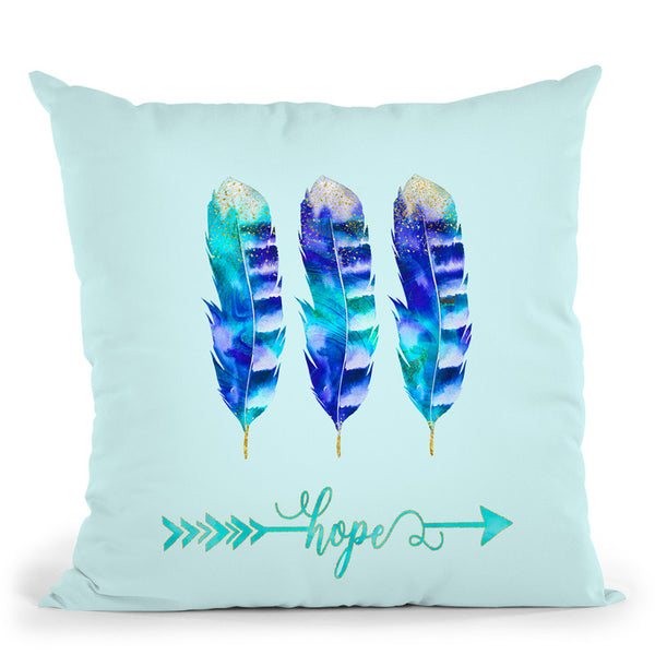 Feather Blue Hope Throw Pillow By Andrea Haase