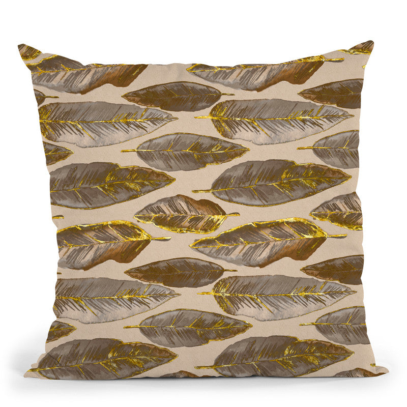 Feather Gold Brown I Throw Pillow By Andrea Haase