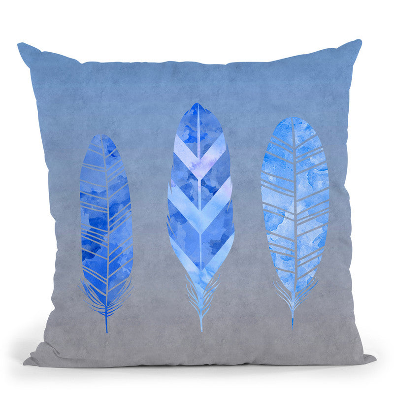 Federn Blue Throw Pillow By Andrea Haase