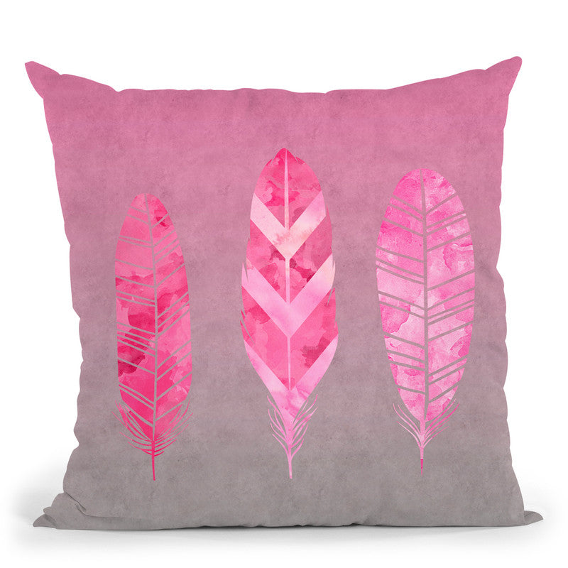 Federn Pink Throw Pillow By Andrea Haase