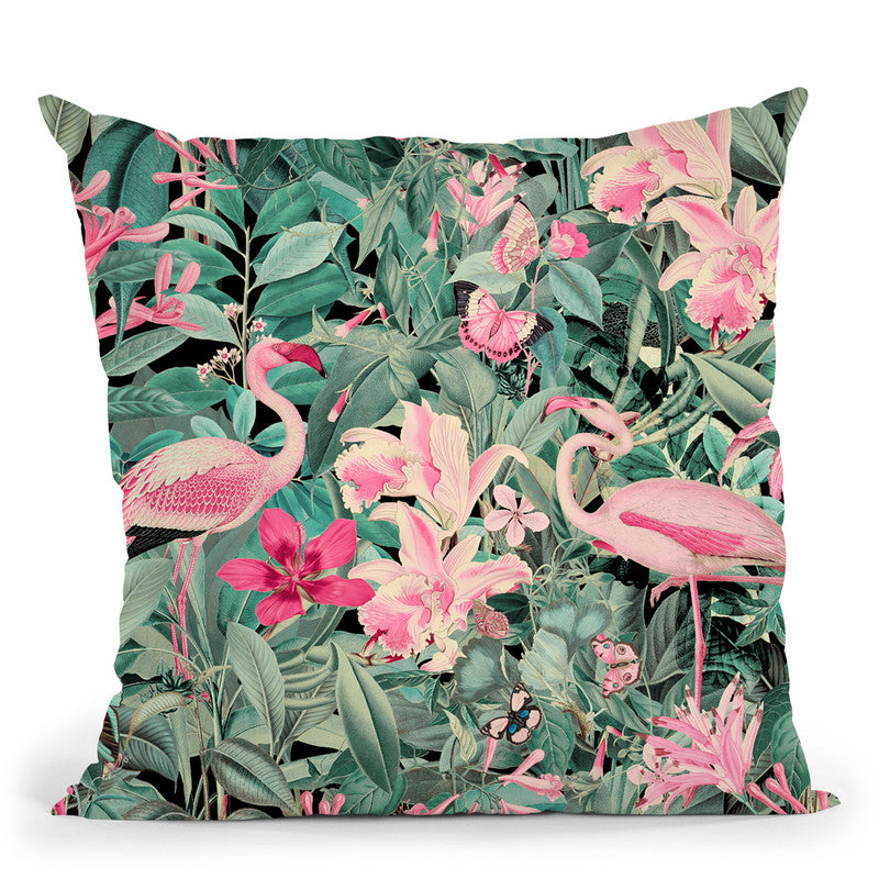 Flamingo Jungle Iv Throw Pillow By Andrea Haase