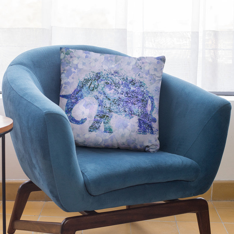 Floral Elephant Blue Throw Pillow By Andrea Haase