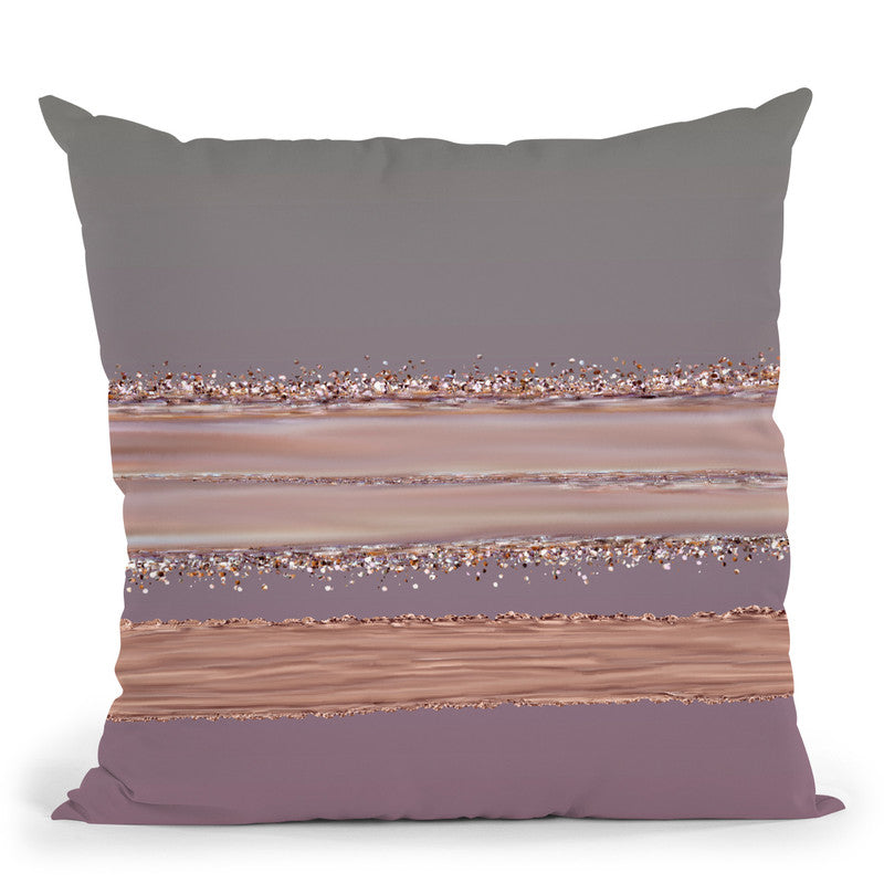 Glamour Stripes Rosegold Purple Throw Pillow By Andrea Haase