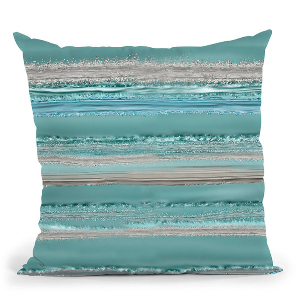 Glamour Stripes Teal Throw Pillow By Andrea Haase