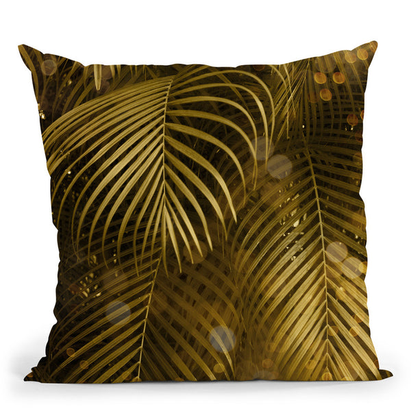 Golden Sparkle Palm Leaves Throw Pillow By Andrea Haase