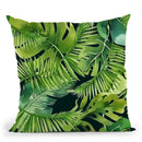 Green Monstera And Palm Leaf Throw Pillow By Andrea Haase