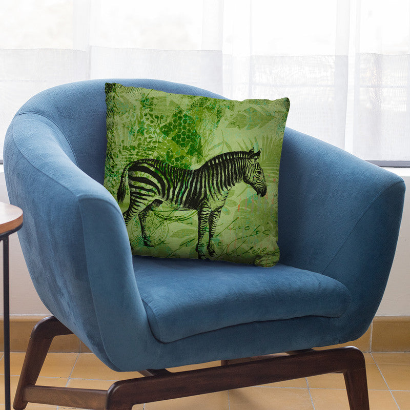 Green Zebra Throw Pillow By Andrea Haase