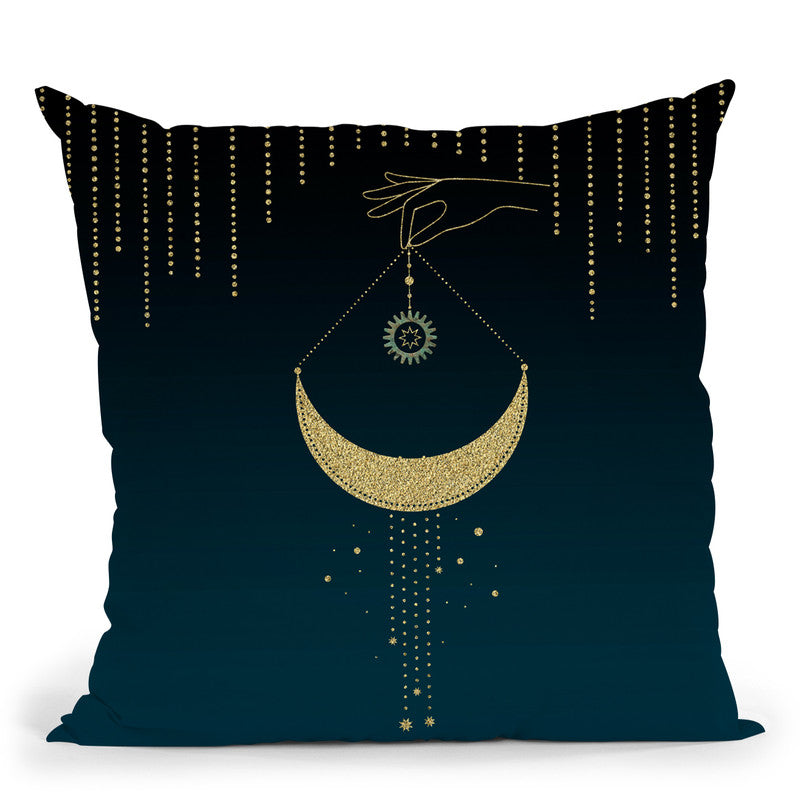 Hand And Moon Throw Pillow By Andrea Haase