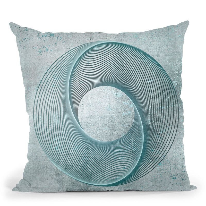 Line Round Teal Throw Pillow By Andrea Haase