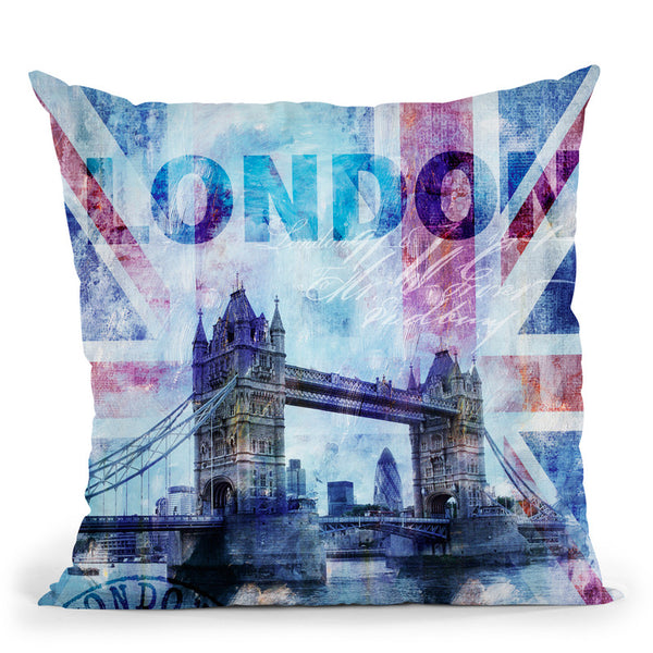 London Blue Wc Throw Pillow By Andrea Haase