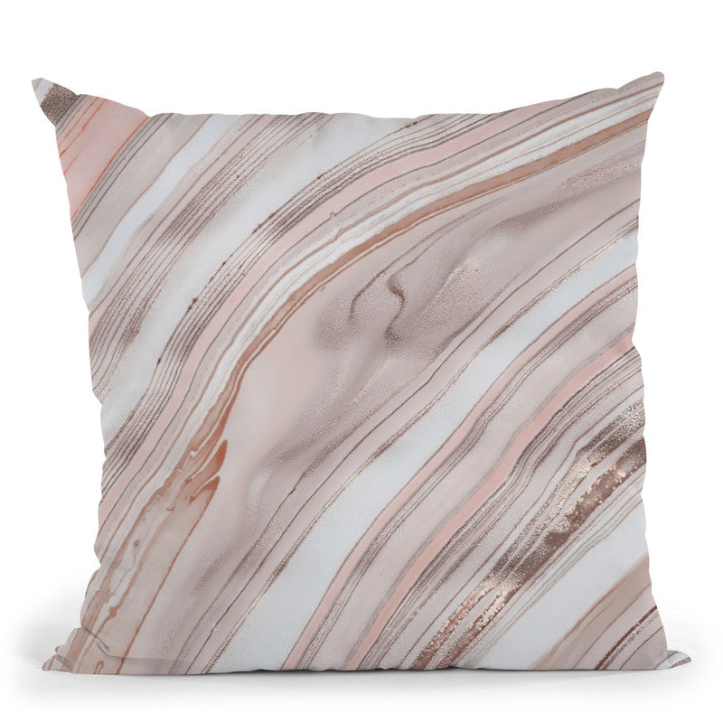Marble Peach Pink Throw Pillow By Andrea Haase