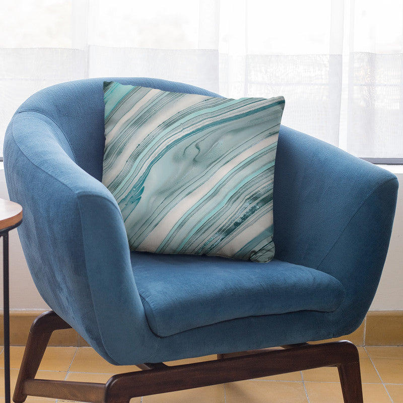 Marble Teal Blue Throw Pillow By Andrea Haase