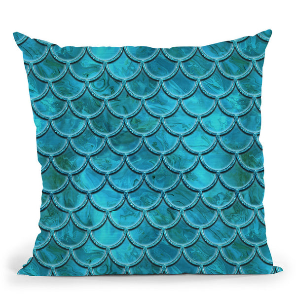 Mermaid Blue I Throw Pillow By Andrea Haase