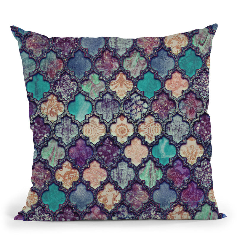 Morocco Tile Teal Throw Pillow By Andrea Haase