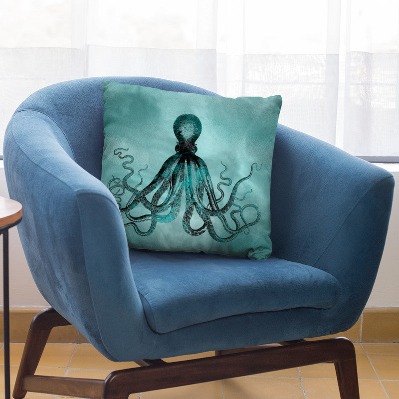 Octopus Teal Throw Pillow By Andrea Haase