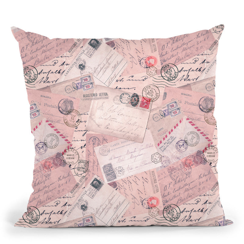 Old Letters Pink Throw Pillow By Andrea Haase