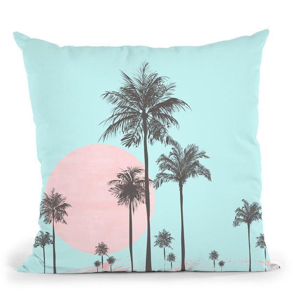 Palm Tree Pink Aqua Throw Pillow By Andrea Haase