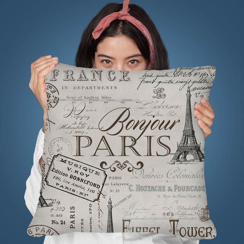 Paris Bonjour Throw Pillow By Andrea Haase