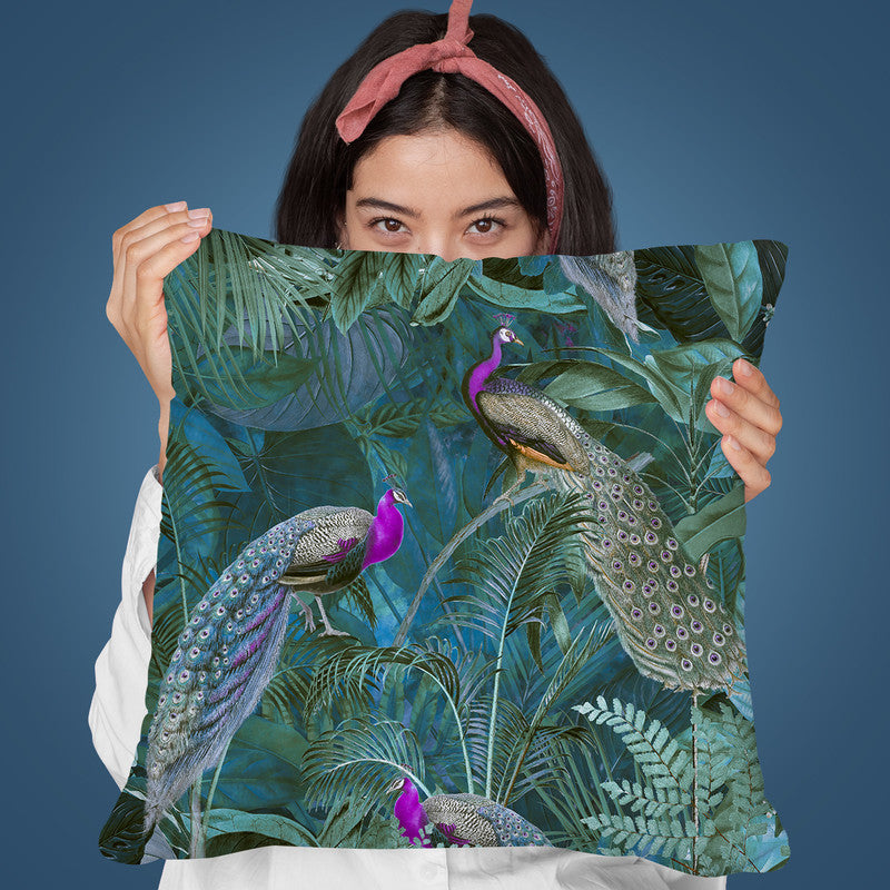 Peacock Paradise Jungle Seamless Throw Pillow By Andrea Haase