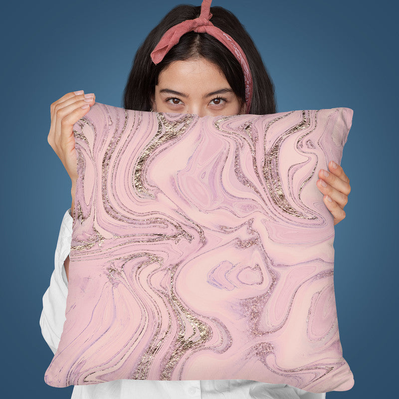 Pink Marble Glitter Throw Pillow By Andrea Haase
