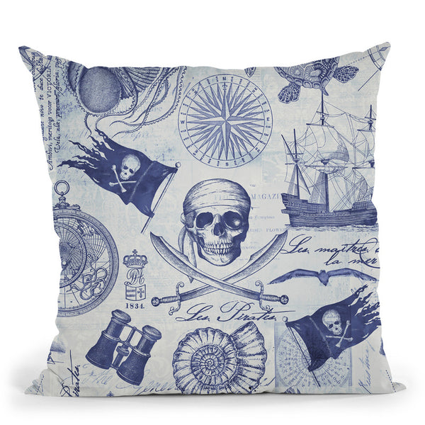 Pirates Blue Throw Pillow By Andrea Haase