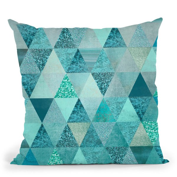 Precious Blue Triangles Throw Pillow By Andrea Haase