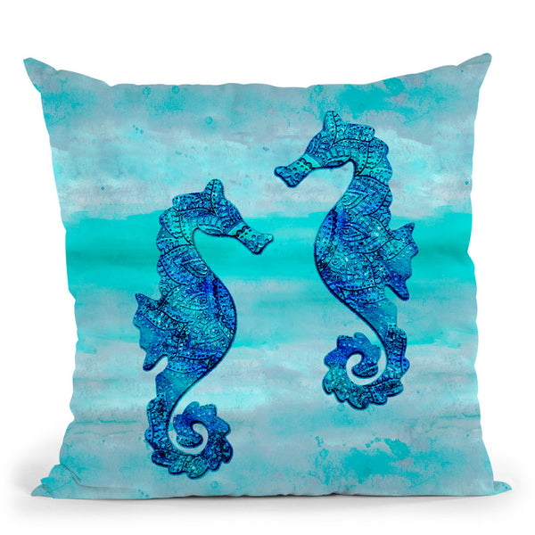 Sea Horse Blue Glam Throw Pillow By Andrea Haase