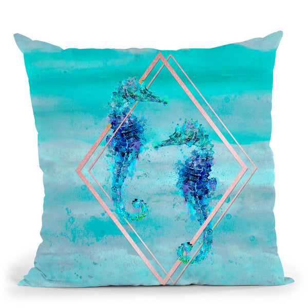 Seahorse Watercolor Throw Pillow By Andrea Haase