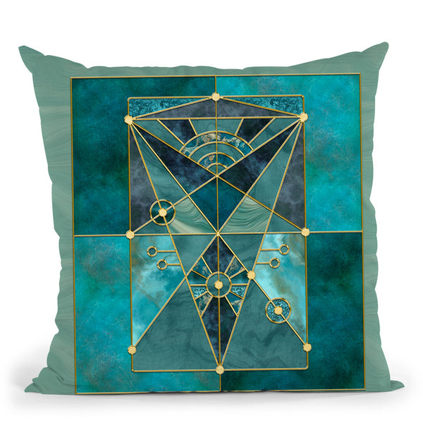 Stained Glass Turquoise Throw Pillow By Andrea Haase