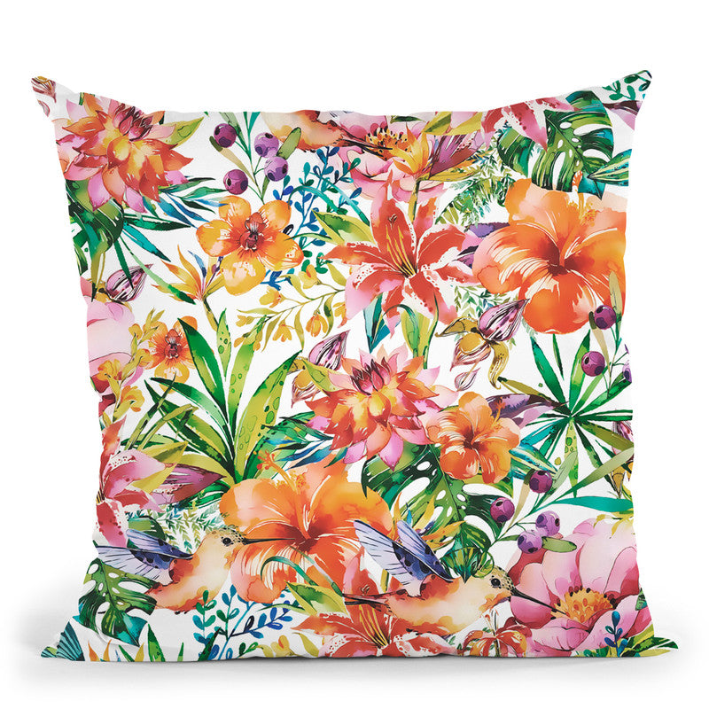 Tropical Jungle And Birds Iii Throw Pillow By Andrea Haase