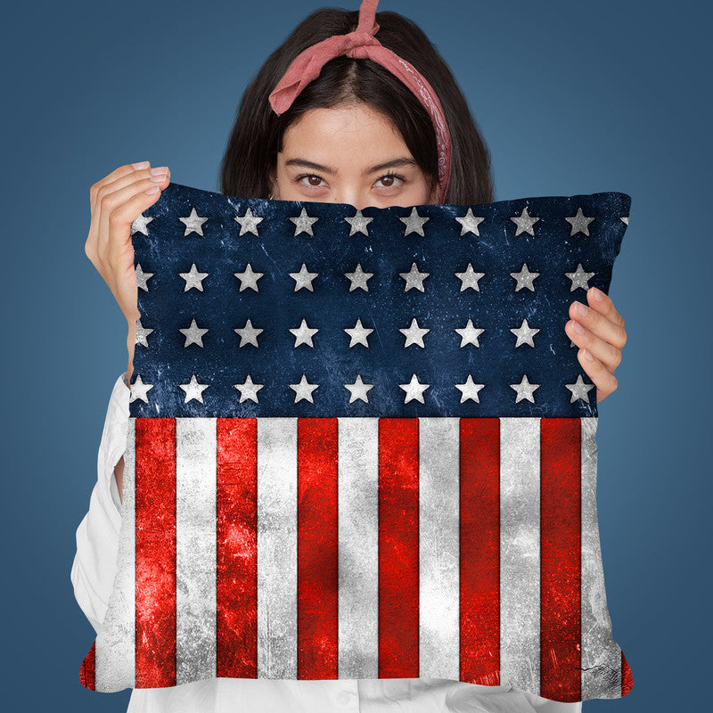 Usa Flag Grunge Throw Pillow By Andrea Haase