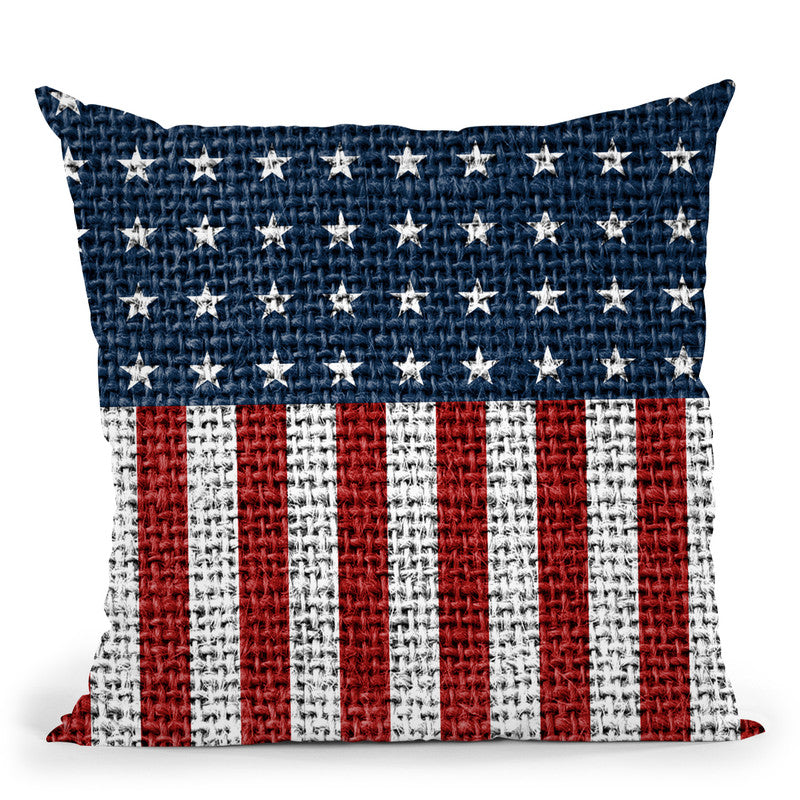 Usa Flag Jute Throw Pillow By Andrea Haase