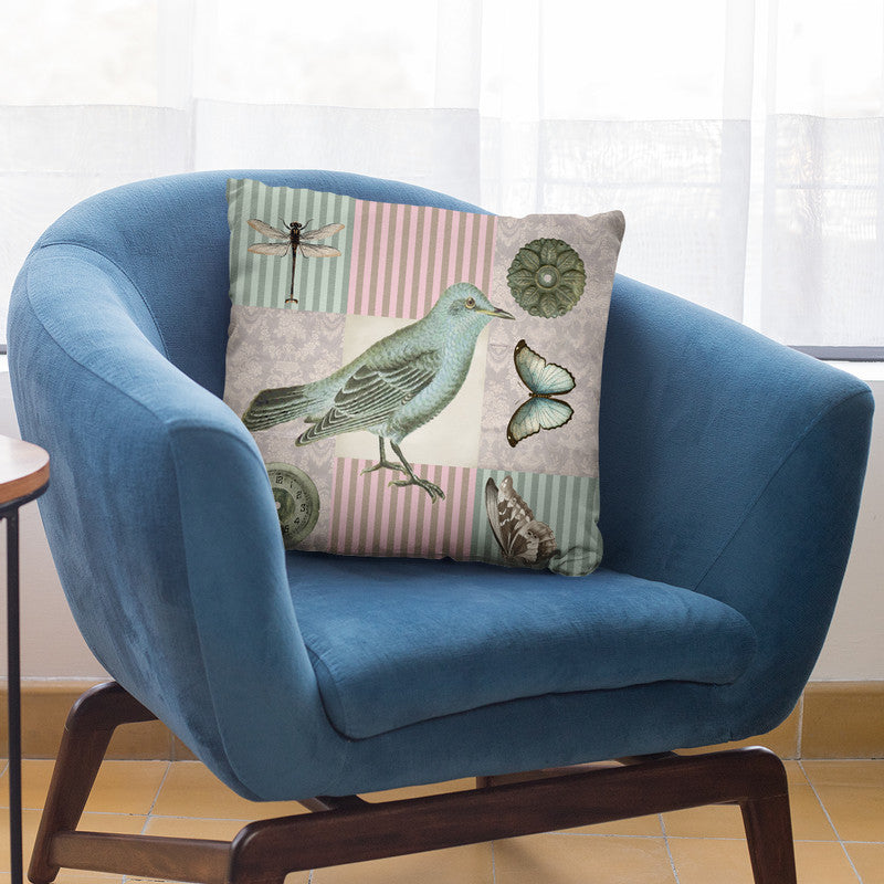 Vintage Bird I Throw Pillow By Andrea Haase