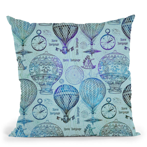 Vintage Travel Blue Throw Pillow By Andrea Haase
