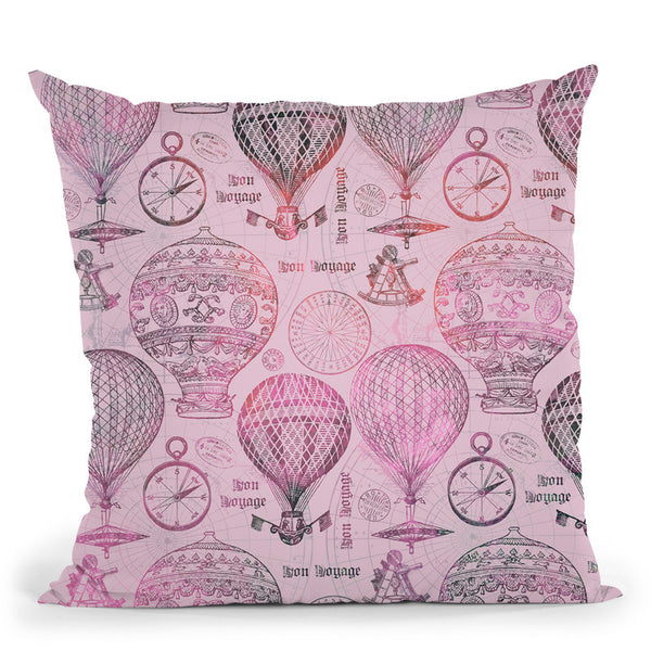 Vintage Travel Pink Throw Pillow By Andrea Haase