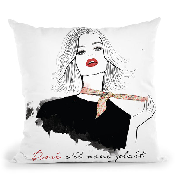 Rose Sil Vous Plait Throw Pillow By Alison Gordon