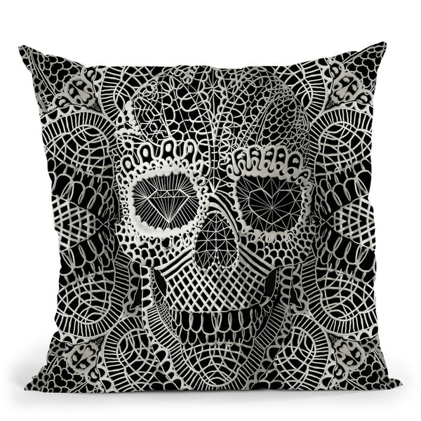Lace Skull Throw Pillow By Ali Gulec