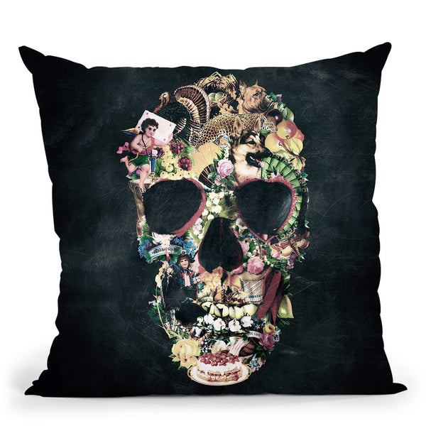 Vintage Skull Sq Throw Pillow By Ali Gulec