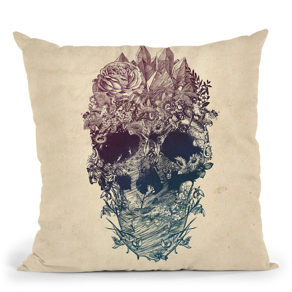 Skull Floral Throw Pillow By Ali Gulec