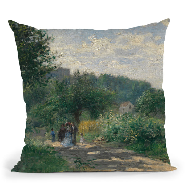 A Road In Louveciennes Throw Pillow By Auguste Renoir