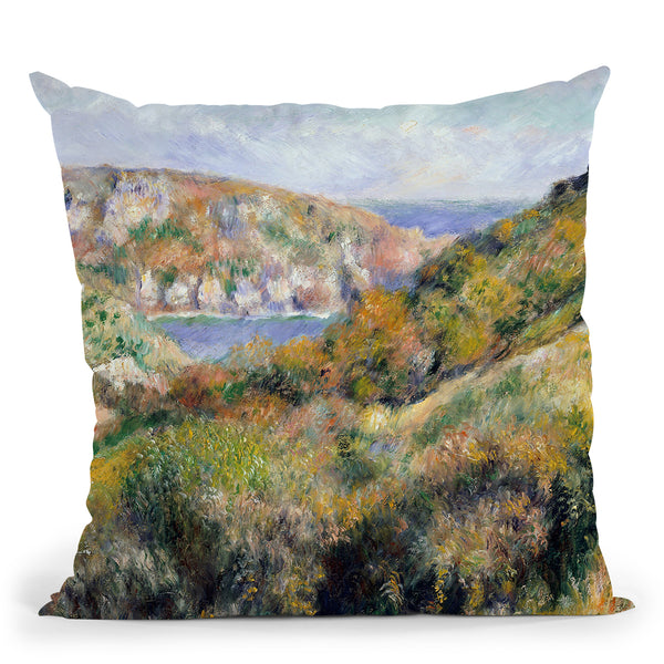 Hills Around The Bay Of Moulin Huet, Guernsey Throw Pillow By Auguste Renoir