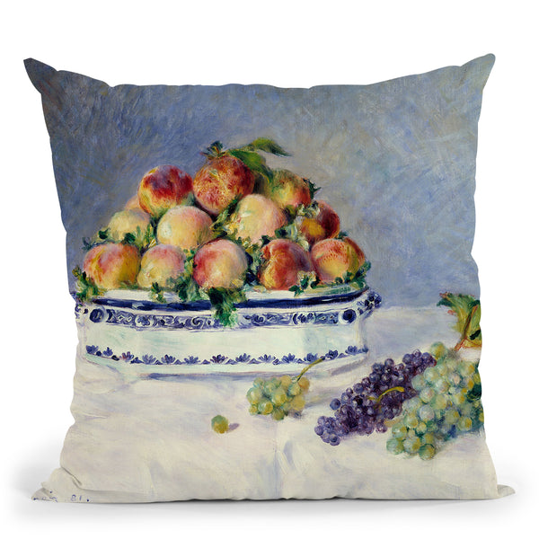 Still Life With Peaches And Grapes Throw Pillow By Auguste Renoir