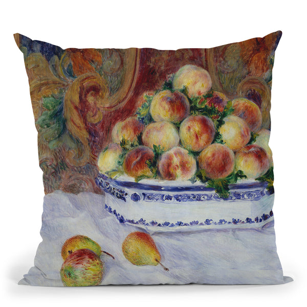 Still Life With Peaches Throw Pillow By Auguste Renoir