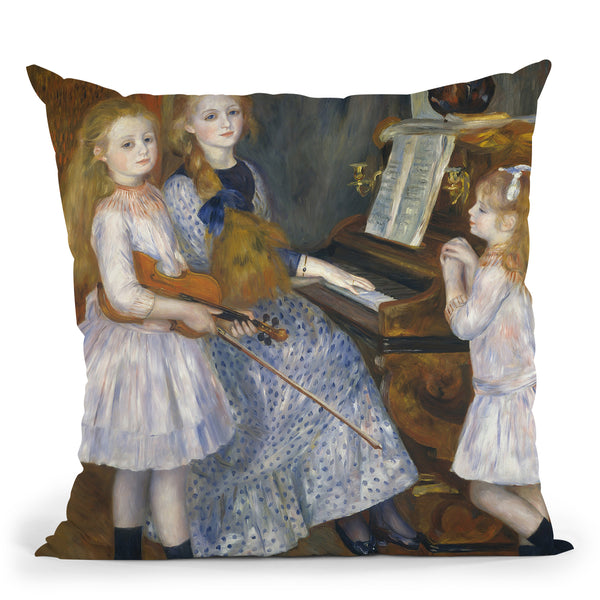 The Daughters Of Catulle Mend�s, Huguette Throw Pillow By Auguste Renoir