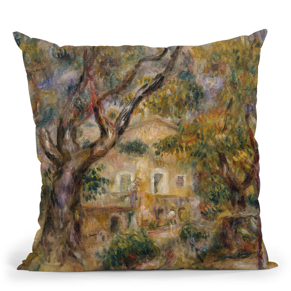 The Farm At Les Collettes, Cagnes Throw Pillow By Auguste Renoir