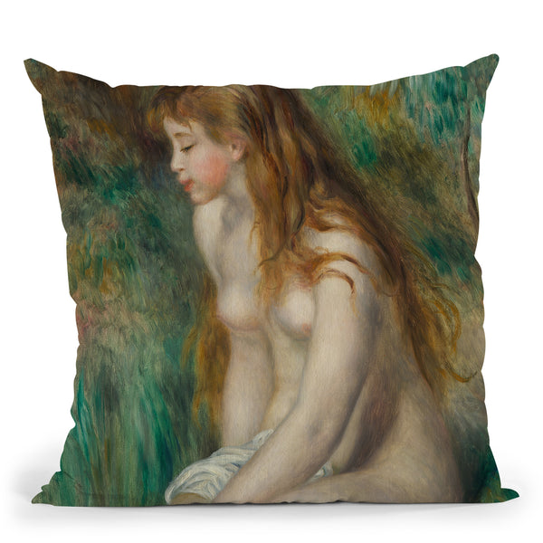 Young Girl Bathing Throw Pillow By Auguste Renoir
