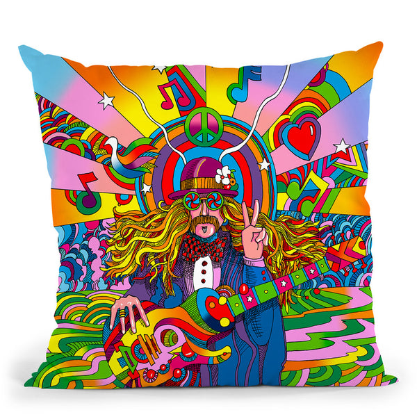 Hippie Musician Throw Pillow By Howie Green - All About Vibe